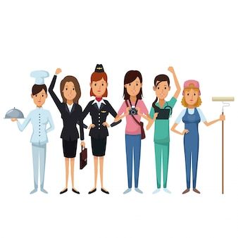 Białe tło z grupą kobiet różnych zawodów