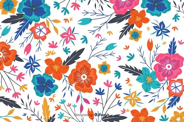 Białe tło z kolorowymi kwiatami