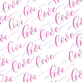 Białe tło z różowym napisem kaligrafii miłość.