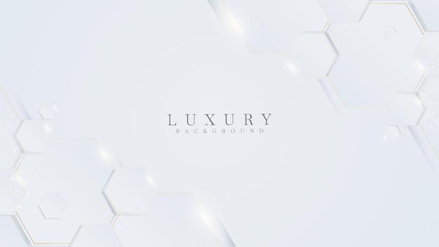 Białe tło z sześciokątnymi złotymi liniami. luksusowy koncepcja realistyczna 3d.