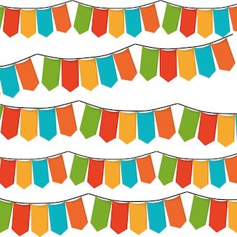 Białe tło z zestawem kolorowe festony w kształcie ilustracji wektorowych prostokątów