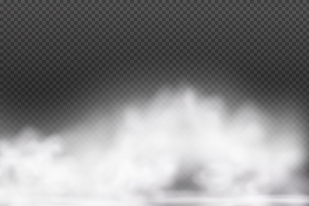 Białe wektor zachmurzenie mgła lub dym na ciemnym tle w kratkę