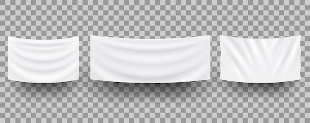 Białe wiszące puste tekstylne banery, 3d realistyczne