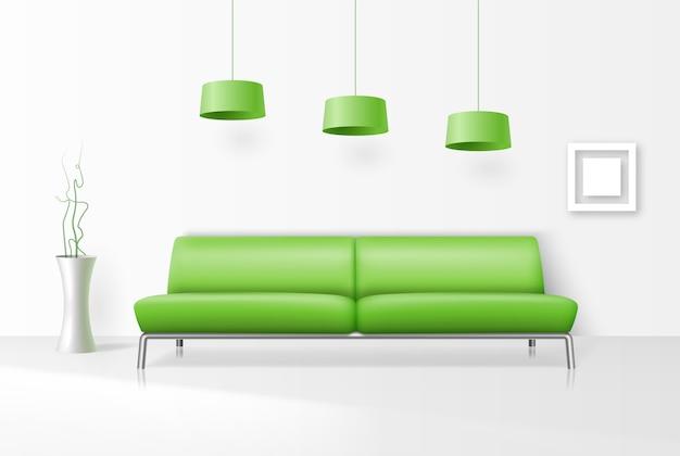 Białe wnętrze z realistyczną zieloną sofą, ramą, słoikiem na kwiaty i lampami