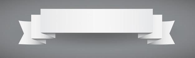 Białe wstążki baner płaski styl z przerywaną konspektu