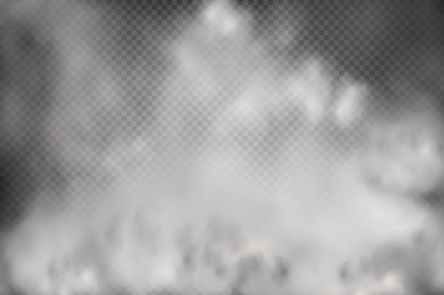 Białe zachmurzenie, mgła lub dym na ciemnym tle w kratkę.