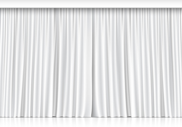 Białe zasłony na białym tle