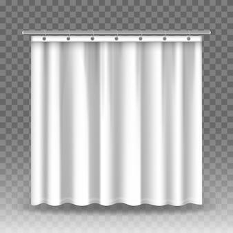 Białe zasłony na przezroczystym tle. realistyczne zasłony wiszące na metalowych pierścieniach i pręcie