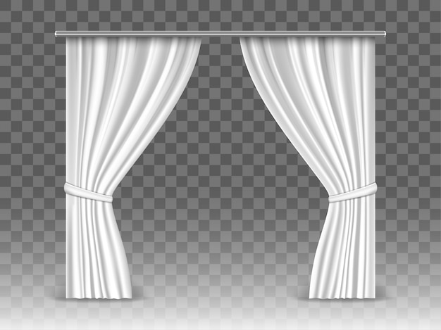 Białe zasłony na przezroczystym tle. realistyczne zasłony wiszące na metalowym pręcie