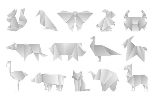 Białe zwierzęta origami. geometryczne złożone kształty papieru, szablony wielokątów abstrakcyjnych ptaków smok motyl. japonia origami design zoo asia illustration