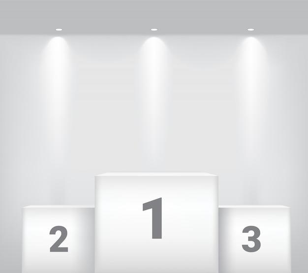 Białe zwycięzca podium z reflektorem