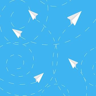 Białego papieru samolot z kreskowym sposobu tłem