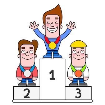 Biali zwycięzcy podium. sportowcy na cokole