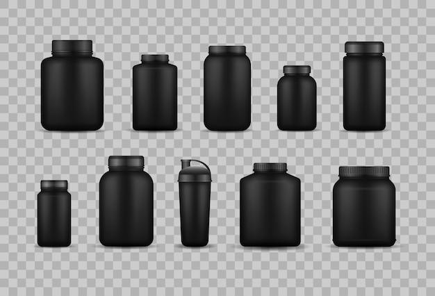 Białko serwatkowe i nabierają masy czarny plastikowy słoik, butelka. szablon projektu kanistra odżywiania fitness na siłownię i trening.