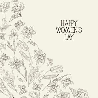 Biało-czarna kartka z życzeniami szczęśliwego dnia kobiet z wieloma kolorami i kwiatami po prawej stronie czerwonego tekstu z pozdrowieniami wektorowymi.