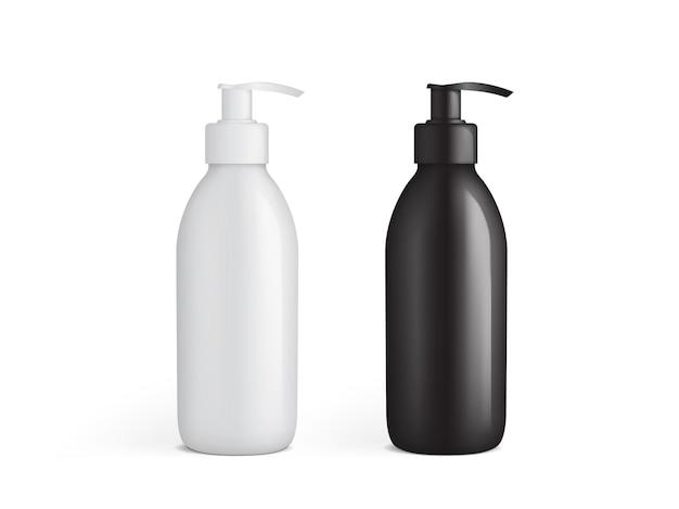 Biało-czarna plastikowa butelka z makietą wektorową pompy