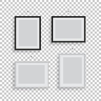 Biało-czarne ramki do zdjęć lub zdjęć w różnych pozycjach na przezroczystym tle.