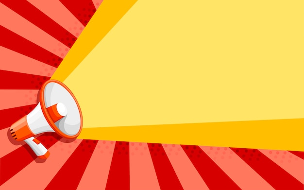 Biało-pomarańczowy megafon. styl głośnika. ilustracja na kolorowym tle