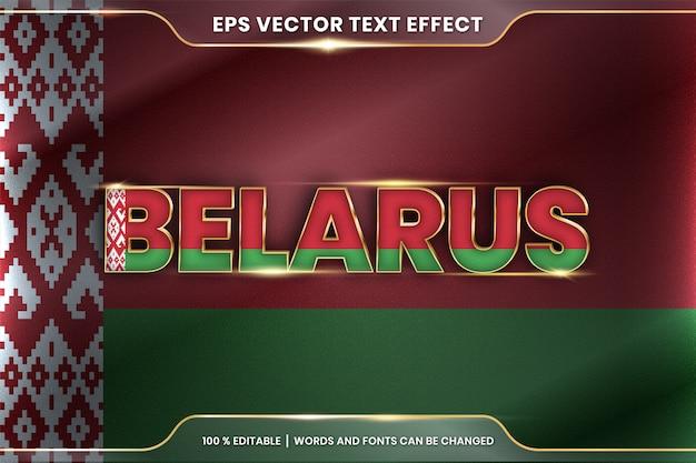 Białoruś z flagą narodową kraju, edytowalny styl efektu tekstu z koncepcją gradientu koloru złota