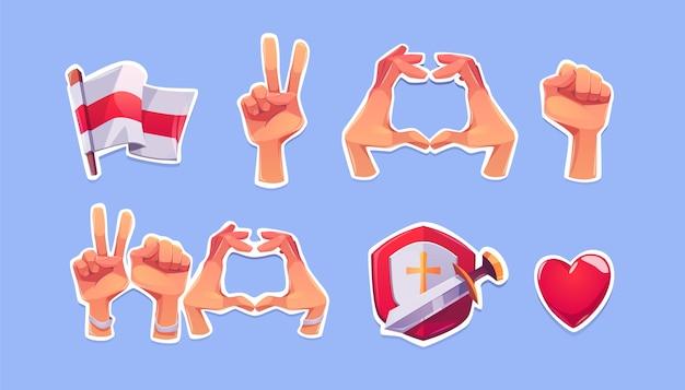 Białoruskie symbole opozycji na naklejkach. kreskówka ikony biało-czerwono-białej flagi, serca, pięści i gestów dłoni zwycięstwa, tarcza z mieczem i czerwonym sercem. oznaki protestu i poparcia dla białorusi