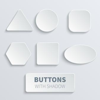 Biały 3d pusty kwadrat i zaokrąglony przycisk wektor zestaw. przycisk okrągły, interfejs odznaki do ilustracji aplikacji