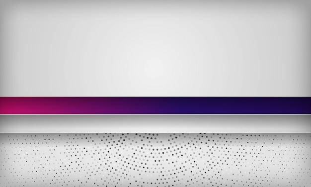 Biały abstrakcyjny wymiar warstwy tła z kolorowym fioletowym gradientem i promieniowym półtonem koła.