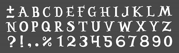 Biały alfabet na szarym tle