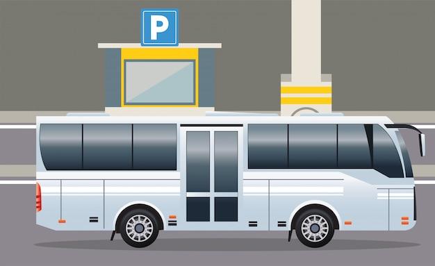 Biały autobus transportu publicznego pojazdu ikona ilustracja