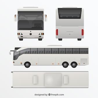 Biały autobus w różnych widokach