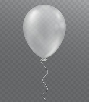 Biały balon na przezroczystym tle. świąteczna dekoracja.