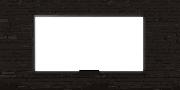 Biały billboard na szarym tle ściany z cegły pusty plakat lub baner wystawowy