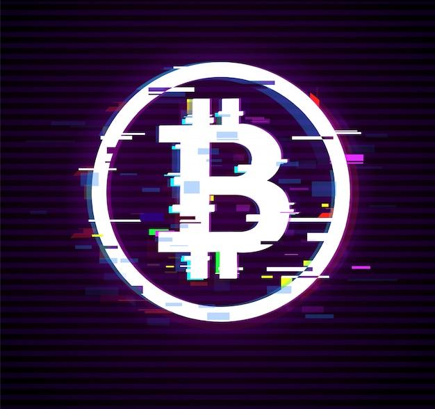 Biały bitcoin znak w stylu usterki na czarny internet pieniądze cyfrowe. efekt interferencji dla obrazu.