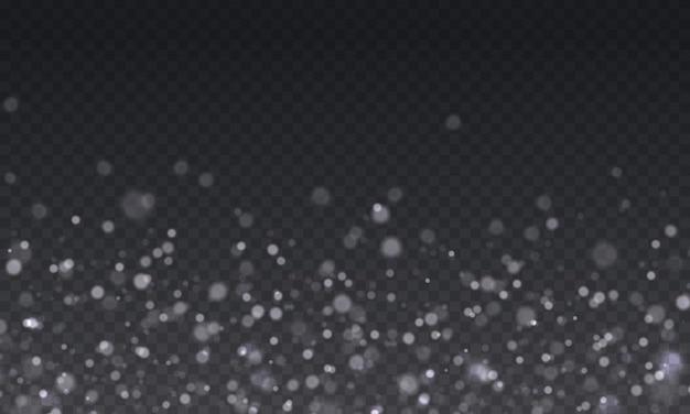 Biały blask iskier z efektem blasku świecący niewyraźny bokeh wesołych świąt biała gwiazda