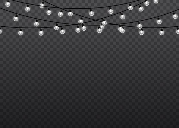 Biały blask światła na sznurkach drutu na białym tle przezroczyste tło. ozdoby wianek. światła na białym tle realistyczne elementy projektu.
