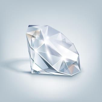 Biały błyszczący jasny diament z bliska na białym tle na szary