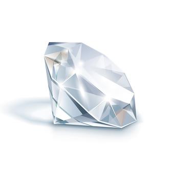 Biały błyszczący jasny diament z bliska na białym tle