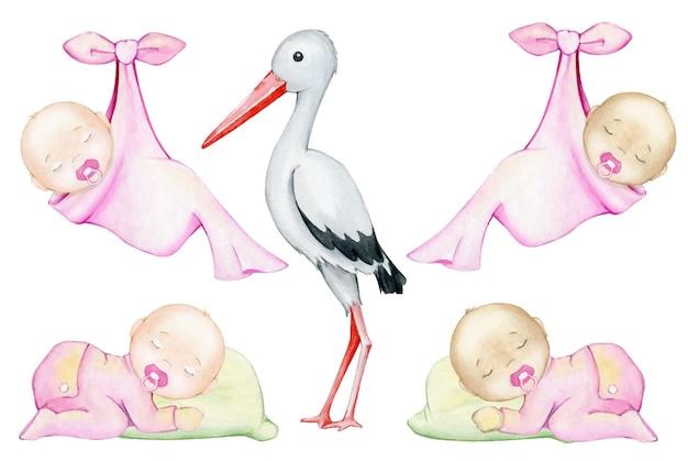 Biały, bocian, niemowlęta, śpiący, w różowym kombinezonie i owinięty w prześcieradło. zestaw akwareli.