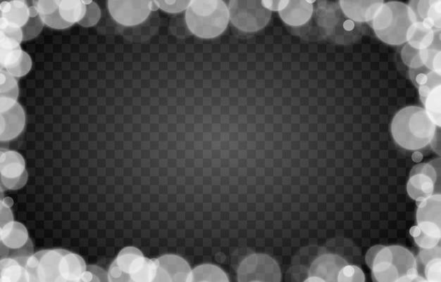 Biały bokeh na izolowanym przezroczystym tle efekt świetlny png rozmazany bokeh png bokeh rama