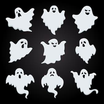 Biały cień kolekcji duchów halloween