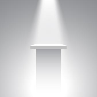 Biały cokół. stoisko. trybuna. reflektor. .