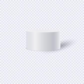 Biały cylinder na przezroczystym tle. ilustracja.