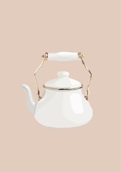Biały czajniczek. ilustracja wektorowa