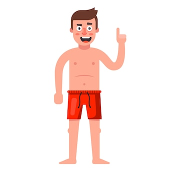 Biały człowiek w czerwonych spodenkach. ilustracja postaci na białym tle.
