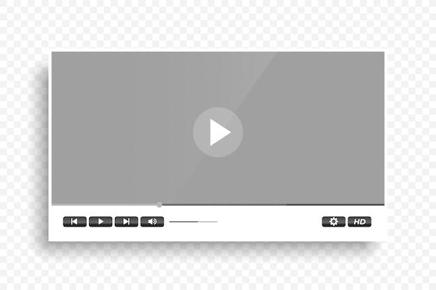 Biały czysty nowoczesny odtwarzacz wideo szablon projektu