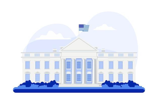 Biały dom ilustracja w płaskiej konstrukcji