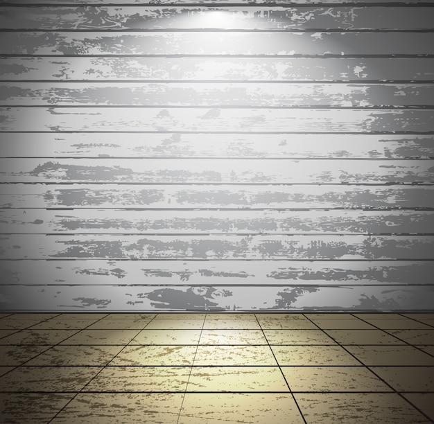 Biały drewniany pokój z podłogą wyłożoną kafelkami