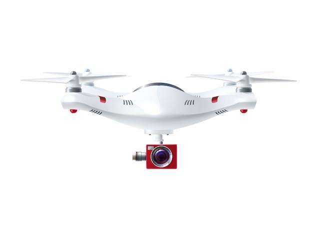 Biały drone z czerwoną kamerą