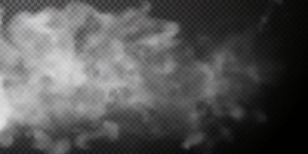 Biały dym na przezroczystym czarnym tle efekt specjalny wybuchu pary png