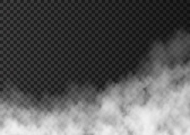 Biały dym ognisty na przezroczystym tle