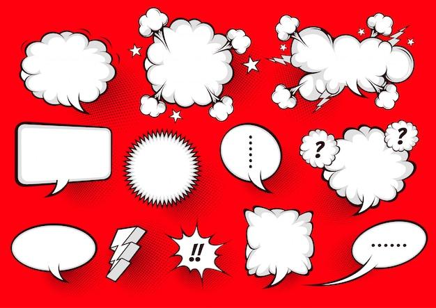 Biały dymek komiksowy na czerwono